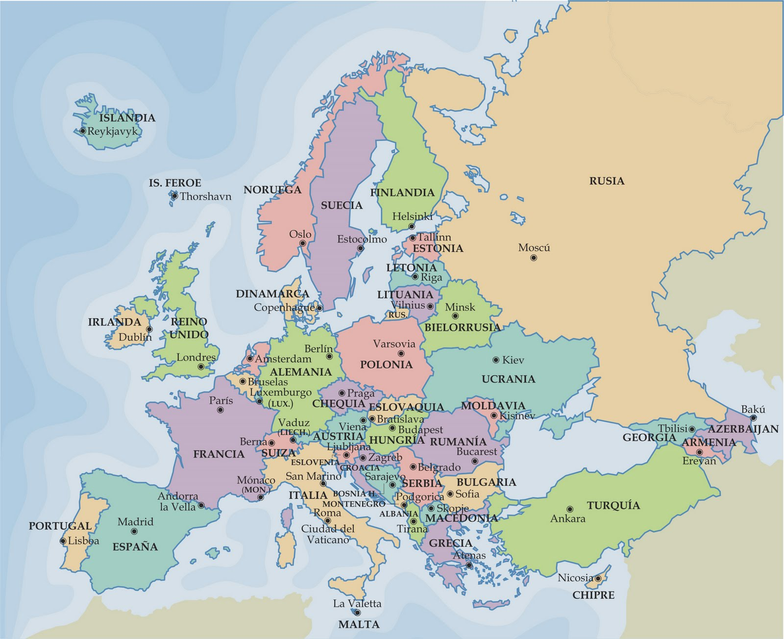 Mapa Politico De Europa Ejercicios