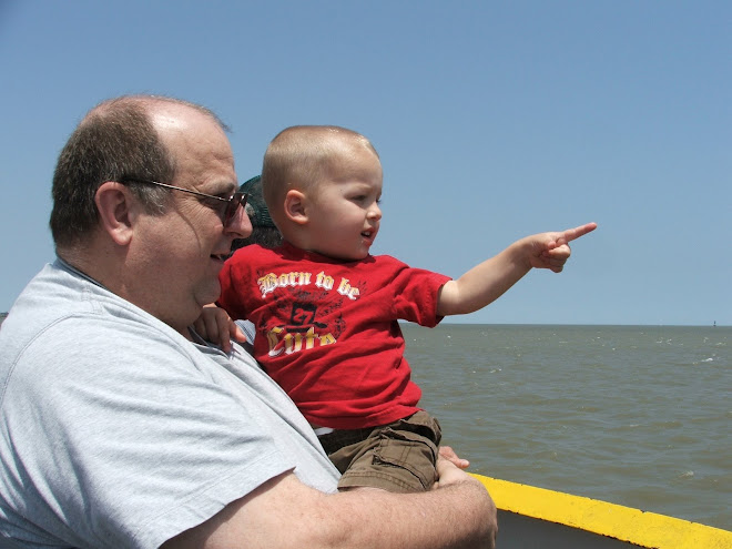 Pappa and Little Nathan on the Ferry to Galveston