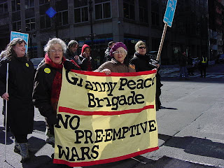Photo: old women protesters from the Granny Peace Brigade