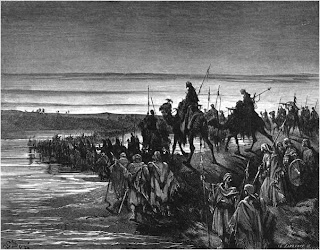 Engraving: The Children of Israel Crossing Jordan, by Gustave Doré
