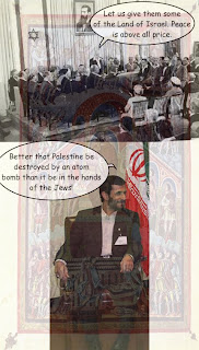 "Picture: top: Zionist leaders convening in 1948 to announce the State of Israel, saying, ""Let us give them some of the Land of Israel. Peace is above all price.""; bottom: Mahmoud Ahmadinejad sitting next to the flag of Iran, saying, ""Better that Palestine be destroyed by an atom bomb than it be in the hands of the Jews!""; composed on the background of the 9th-century artwork depicting Solomon's sentence"