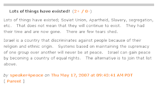 "Screenshot: comment by ""speaker4peace"" on Daily Kos, May 17, 2007"