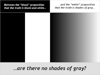 "Illustration: Top-left: ""Between the 'black' proposition that the truth is black-and-white..."", on black background; Top-right: ""...and the 'white' proposition that the truth is shades of gray..."", on white background; Middle-left: black block and white block, sharply demarcated; Middle-right: smooth gray gradient; Bottom: ""...are there no shades of gray?"", on gray background"