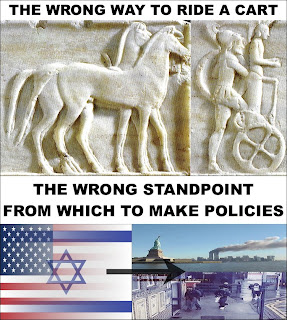 "Picture: Top: ""The wrong way to ride a cart"", with relief of charioteer with order of chariot and horse reversed; Bottom: ""The wrong way standpoint from which to make policies"", with USA and Israel flags merged, and arrow pointing to photos from the 9/11 and 7/7 Islamic attacks."