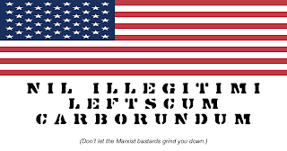 """Drawing: flag of the USA, with text, """"Nil Illegitimi Leftscum Carborundum"""", meaning, """"Don't let the Marxist bastards grind you down"""", underneath"""