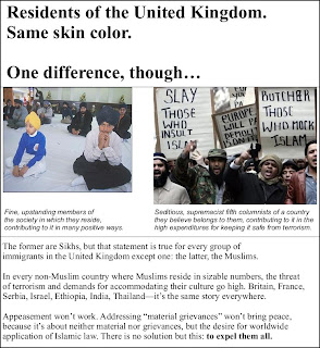 Picture: British Sikhs and British Muslims compared side by side, the peaceful vs. the seditious