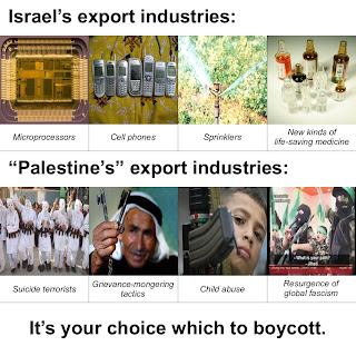 "Picture: Israel's export industries (microprocessors, cell phones, sprinklers and new kinds of life-saving medicine) vs. ""Palestine's"" (suicide terrorists, grievance-mongering tactics, child abuse and resurgence of global fascism)"