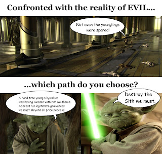 "Picture: Top: Obi-Wan Kenobi says to Yoda, ""Not even the younglings were spared!""; Bottom: possibility on the left is Yoda saying, ""A hard time young Skywalker was having. Reason with him we should. Address his legitimate grievances we must. Beyond all price peace is."", possibility on the right is Yoda saying, ""Destroy the Sith we must."""