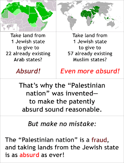 "Map: Showing how the ""Palestinian nation"" fraud is a cover-up for the obvious absurdity of taking lands from the Jewish state to give them to the 22 Arab or 57 Muslim ones"