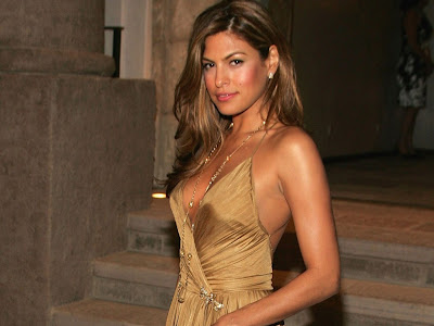 Eva Mendes in a gold dress picture 2