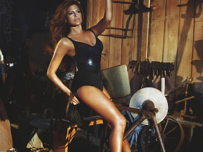 Eva Mendes in a black bathing suit
