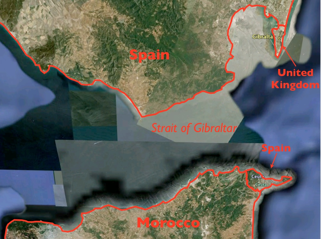 Map Of Spain Gibraltar And Morocco.Britain Vs Spain And Spain Vs Morocco In The Strait Of Gibraltar