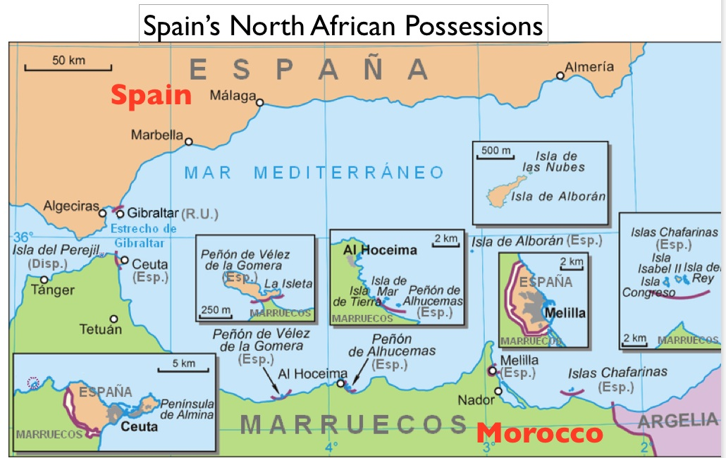 Map Of Spain And North Africa.Geopolitical And Religious Conflict In The Spanish Exclave Of Melilla