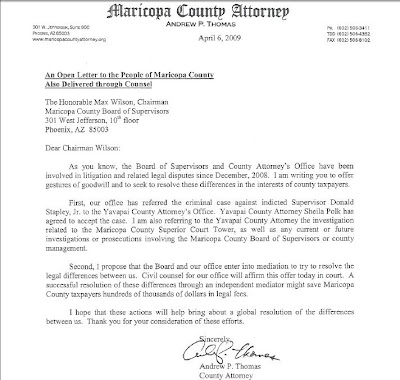 IC Arizona: Open letter from County Attorney Thomas to