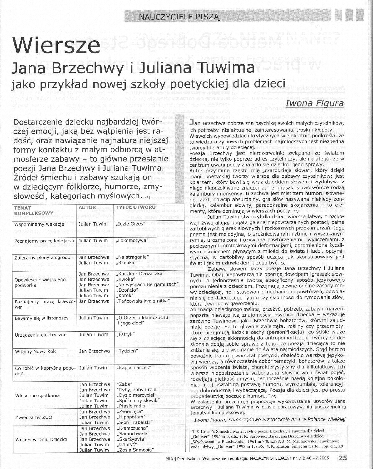 Czasopisma Pedagogiczne Wiersze Jana Brzechwy I Juliana Tuwima