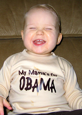 Wilson wearing My Mama is for Obama shirt