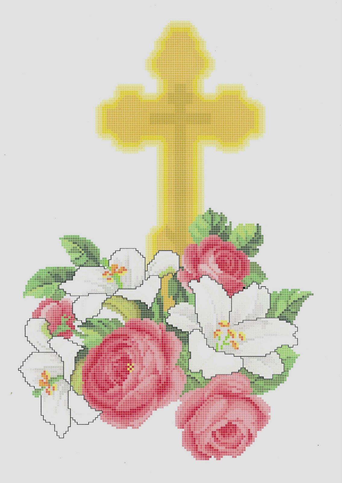 [St.+Olga+Cross+with+Flowers]