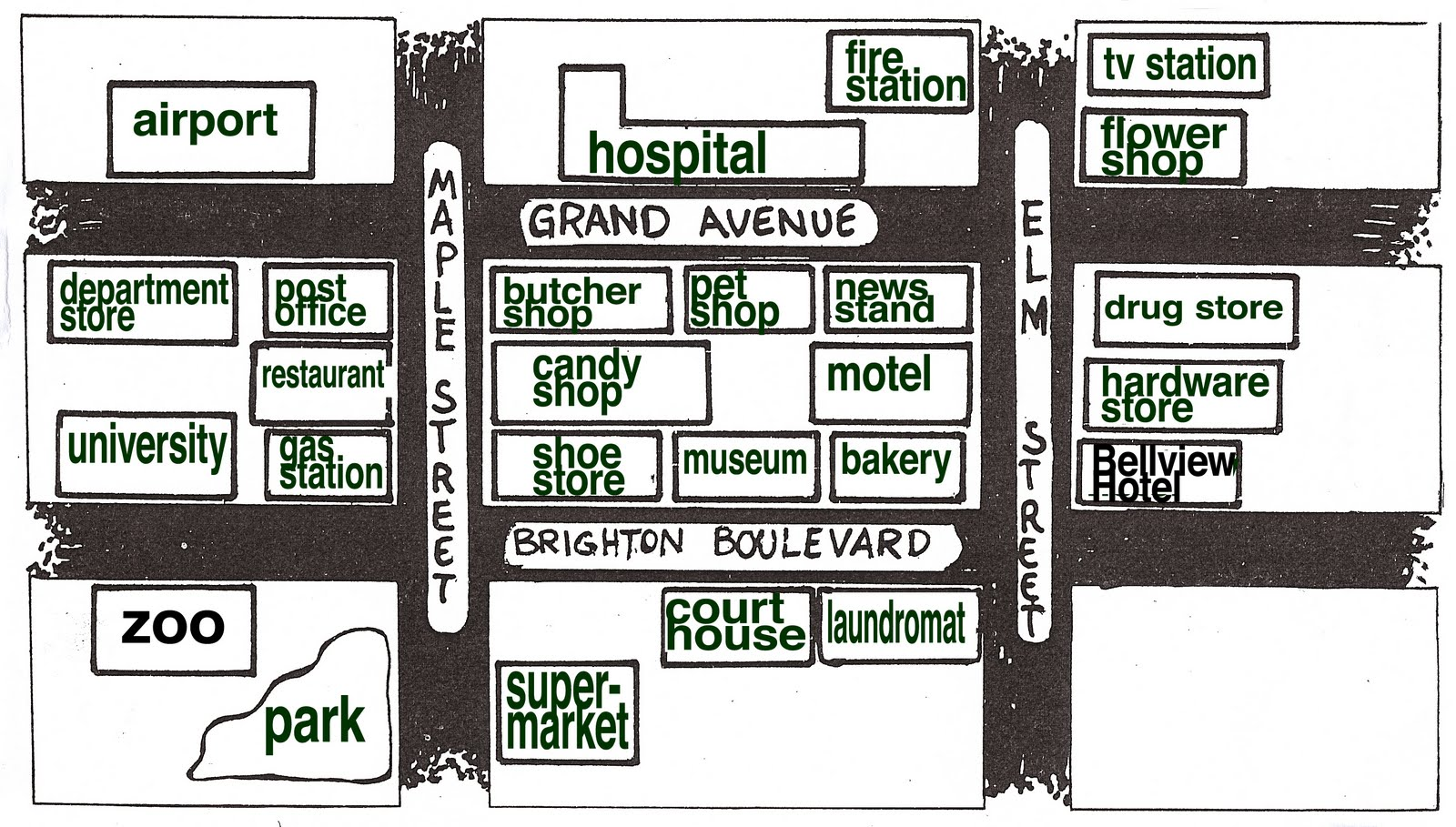 basic english grammar reading a map giving directions. Black Bedroom Furniture Sets. Home Design Ideas