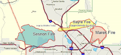 California: map of Sayre fire near Sylmar   Wildfire Today