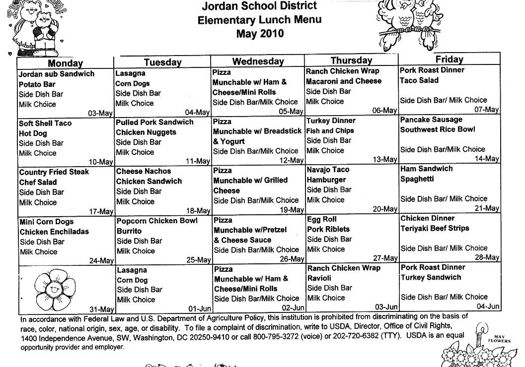 School Lunch Menu Template k 12 bell institute of health and – Lunch Menu Template