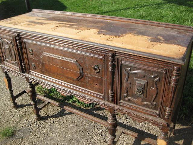 Remove Veneer Buffet Transformation, Refinishing Antique Furniture With Veneer