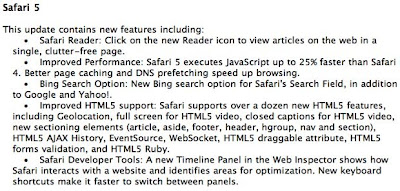 Safari 5 Includes a New Reader, Bing Search, HTML 5 and More..
