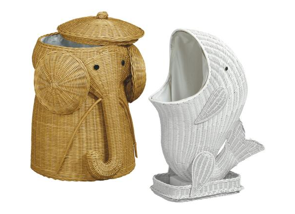 Toxiferous Designs Fish And Elephant Wicker Laundry Hampers