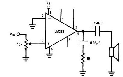 world technical: LM386 circuit audio amplifier