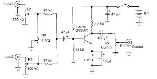 world technical 2 channel audio mixer electronic schematic. Black Bedroom Furniture Sets. Home Design Ideas