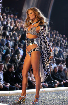 Alessandra Ambrosio walks the runway in lingerie