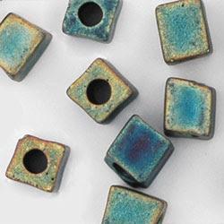 Miyuki 4mm cubes with round holes <br />