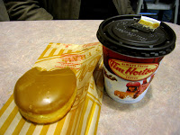 Tim Horton's Butter Caramel Hot Smoothie and Maple Donut
