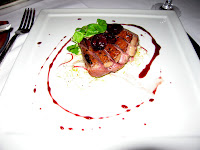 Duck with cherry compote