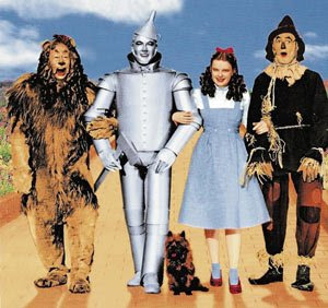 Wizard of Oz, Doroty, Lion, Tin man, Straw man and Toto