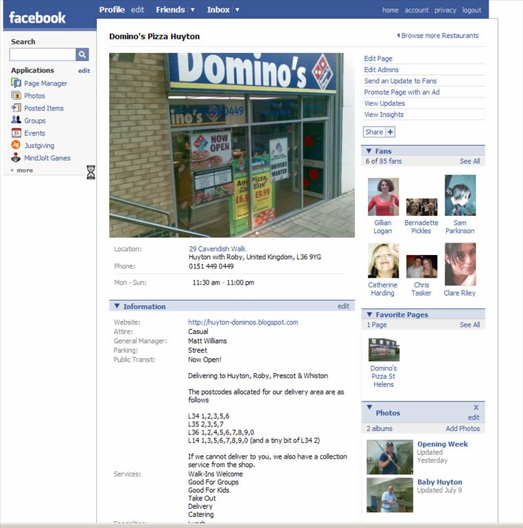 Domino's Pizza Huyton Facebook