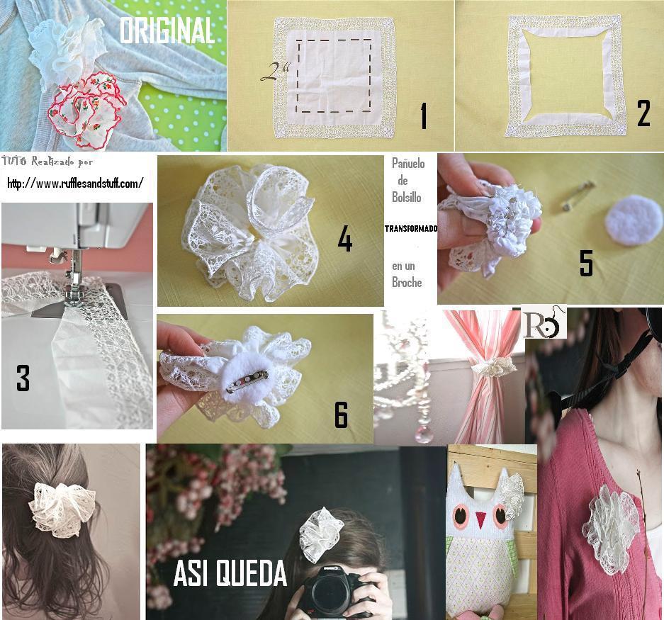 transformar pañuelos de bolsillo, broches flor con pañuelos