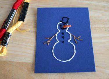 tarjetas, postales, felicitación, Navidad, puntadas, costura, manualidades