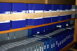 Rows of digibeta library tapes