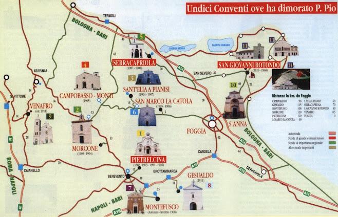11 conventi di padre Pio