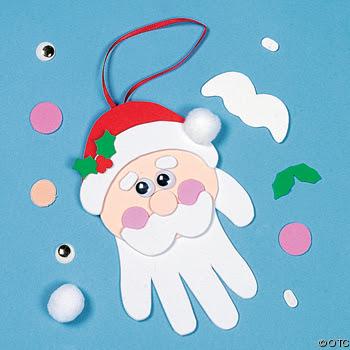 ... molde das mãos dos alunos para confeccionar este fofo Papai Noel