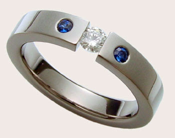Diamond and Sapphire Titanium Ring