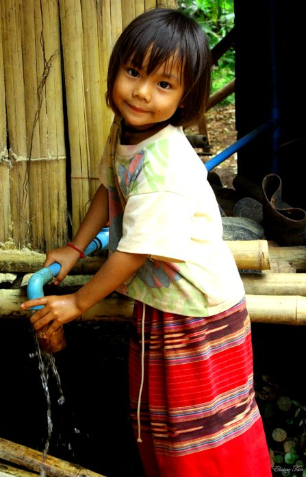 Little Thai Girl Fetches Water