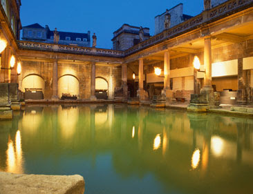 landmark photos roman baths picture at night shining light england