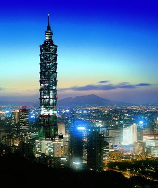 night photo of taipei 101 worlds tallest building taiwan