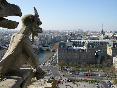 landmark photos notre dame cathedral in paris picture view over city from top with gargoyles