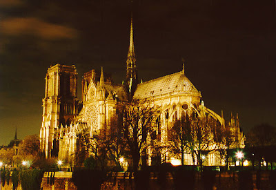 photo of notre dame cathedral paris at night lights shining