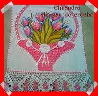 Download Pano de Prato com pintura e aplique de croche