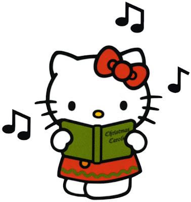 dibujo Hello Kitty canta  navidad