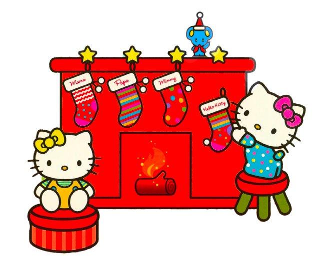 Hello Kittu adornando chimenea de navidad