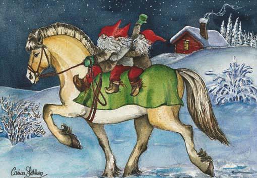 santa Claus sobre un caballo, imagen vintage